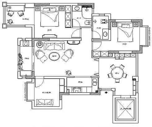 105㎡三房美式风格家居 除了卫生间其他都非常满意
