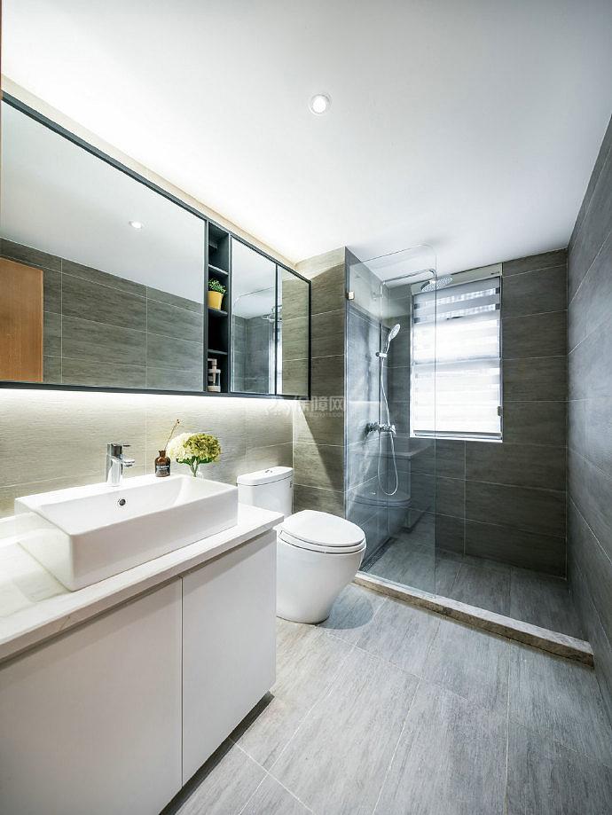 126㎡现代简约三居之卫生间装修设计效果图