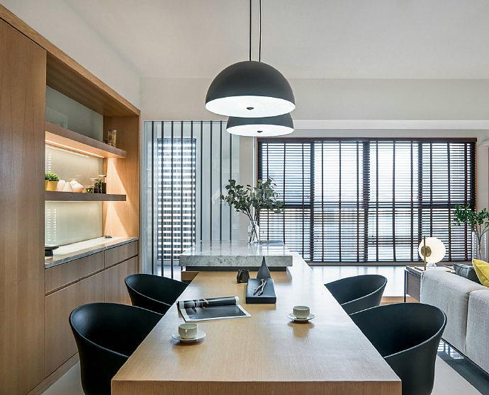 126㎡现代简约三居之餐厅装修设计效果图