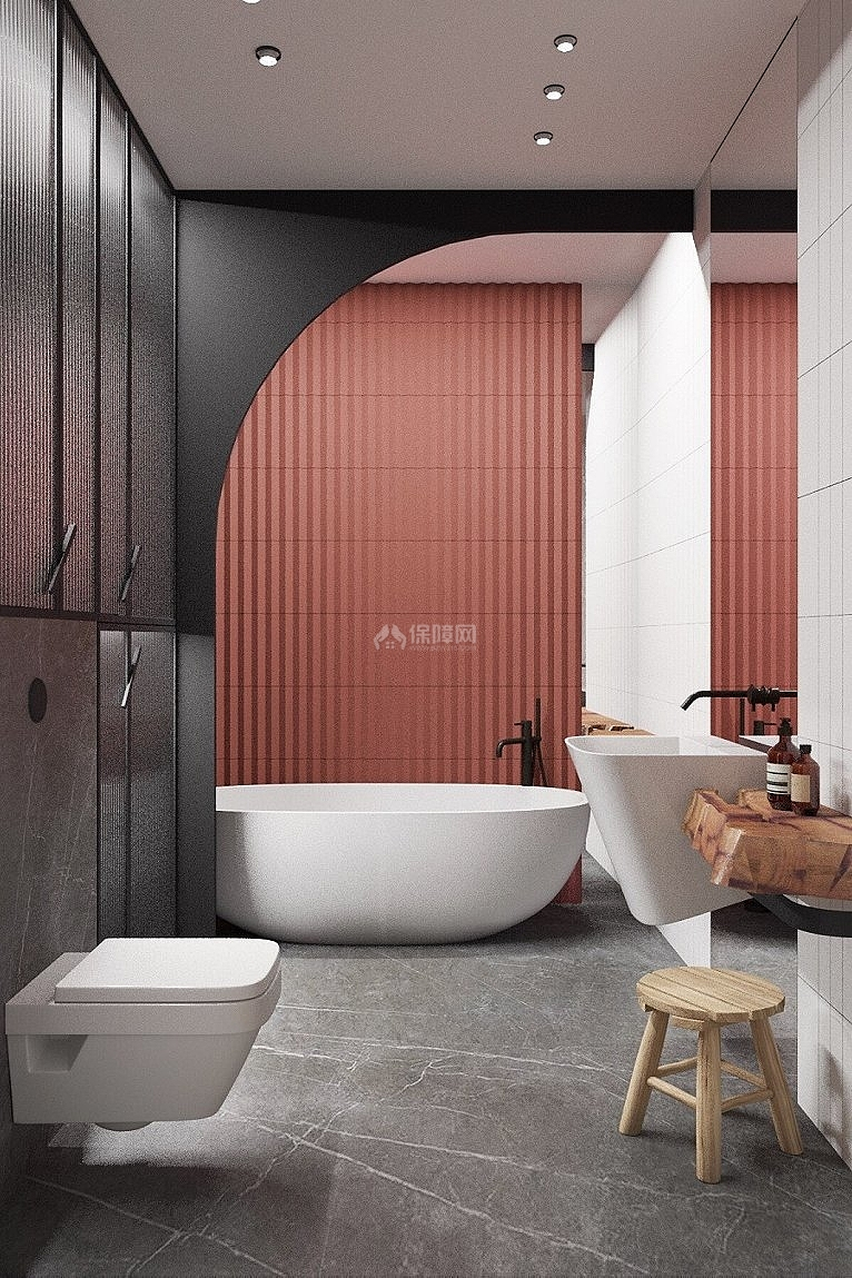75㎡清新风两居之卫浴设计效果图