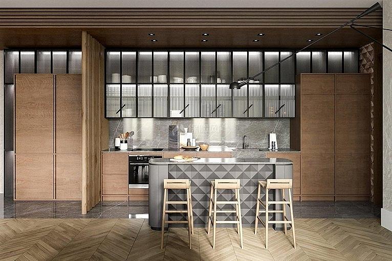 75㎡清新风两居之开放式厨房装修设计效果图