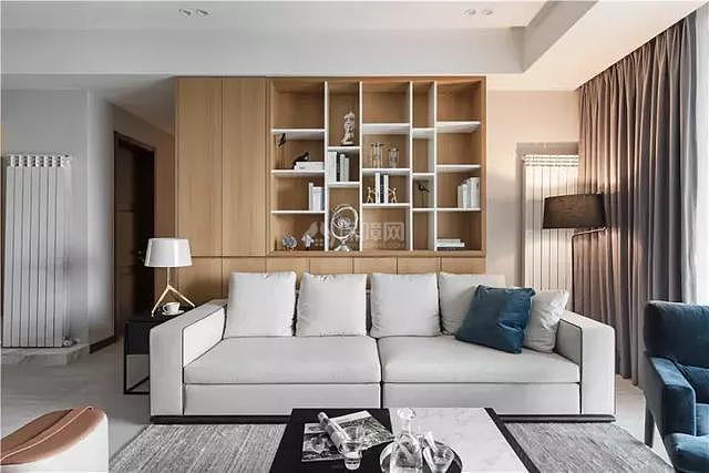 125㎡灰加白沙发背景墙设计效果图