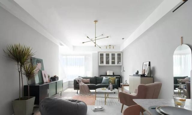 123㎡極簡北歐風,低飽和度色調家具,自然光線撒滿全屋