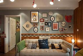 99㎡时尚田园风沙发墙装修效果图
