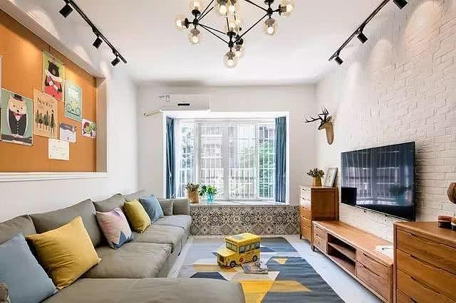 135平美式三居室婚房 全屋配色大方清新自然