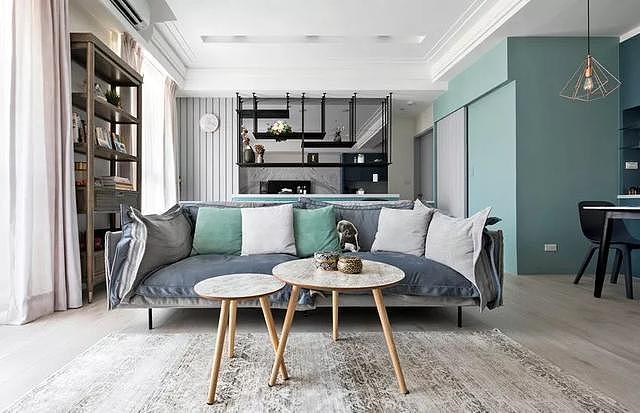 彩妆师装修66㎡新房 用优雅灰蓝打造法式风情