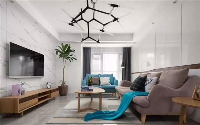 110平现代风格两居室 沙发墙装一整面柜子超实用