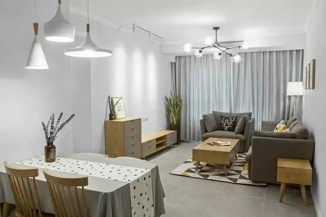 90平3室2厅北欧风格装修 黑白灰配色高级典雅自然