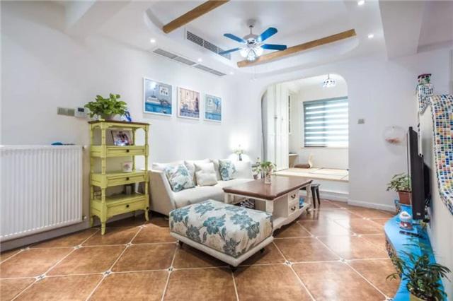 96平地中海風格復式兩居室 客廳矮墻和樓梯扶手太好看了