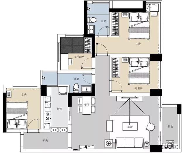 120平现代美式风格四房空间 装修氛围舒适大方又高档