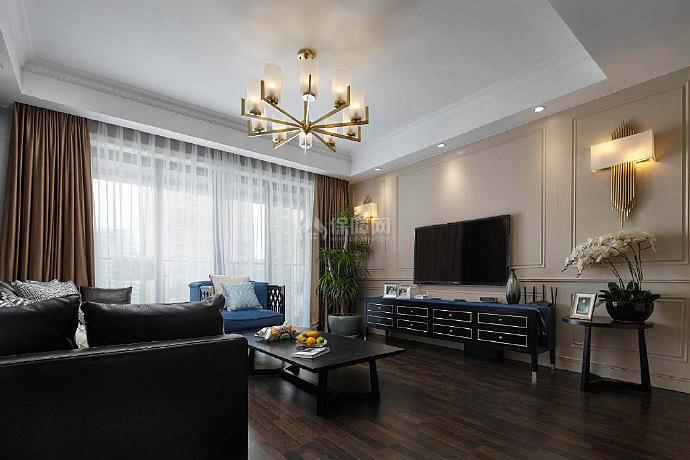 150平米美式客厅另一角度效果图