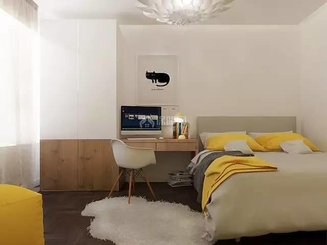 70平方2室一厅卧室装修效果图