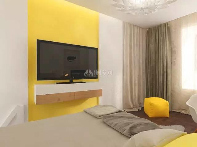 70平方2室一厅卧室电视墙设计效果图