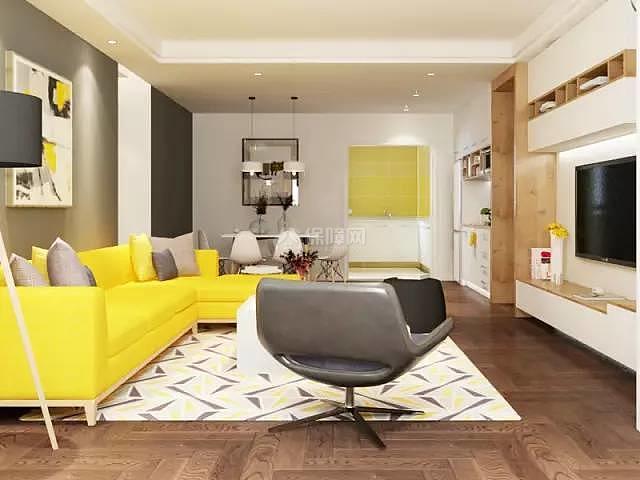 70平方2室一厅沙发摆放效果图