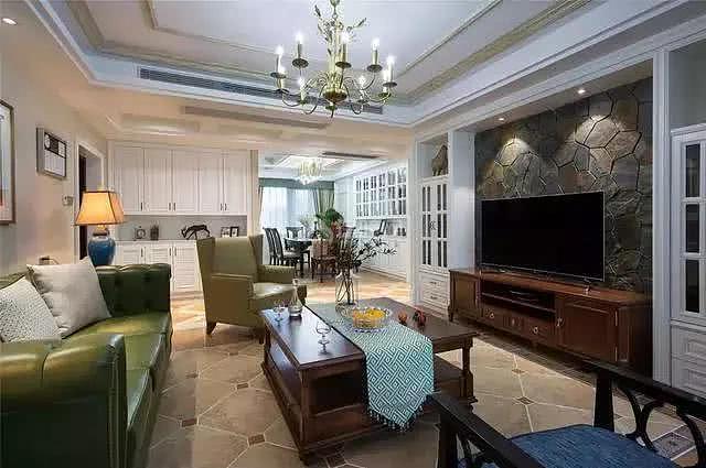 140㎡美式客厅装修效果图