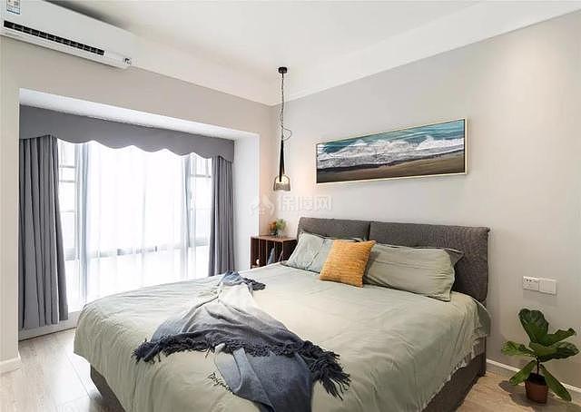 100平现代简约卧室效果图