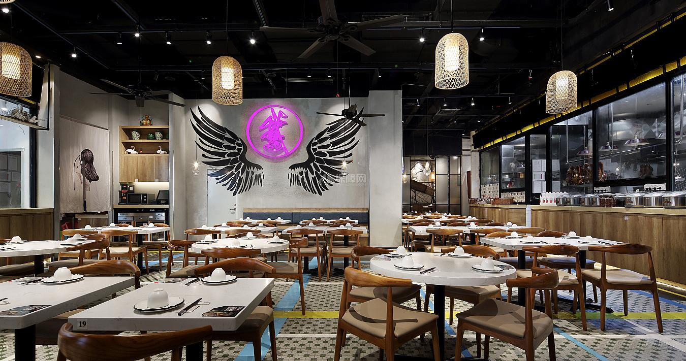 日日香鹅肉饭店大厅灯光设计效果图