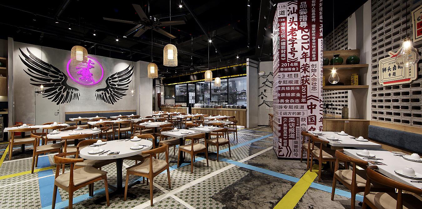日日香鹅肉饭店大厅格局设计效果图