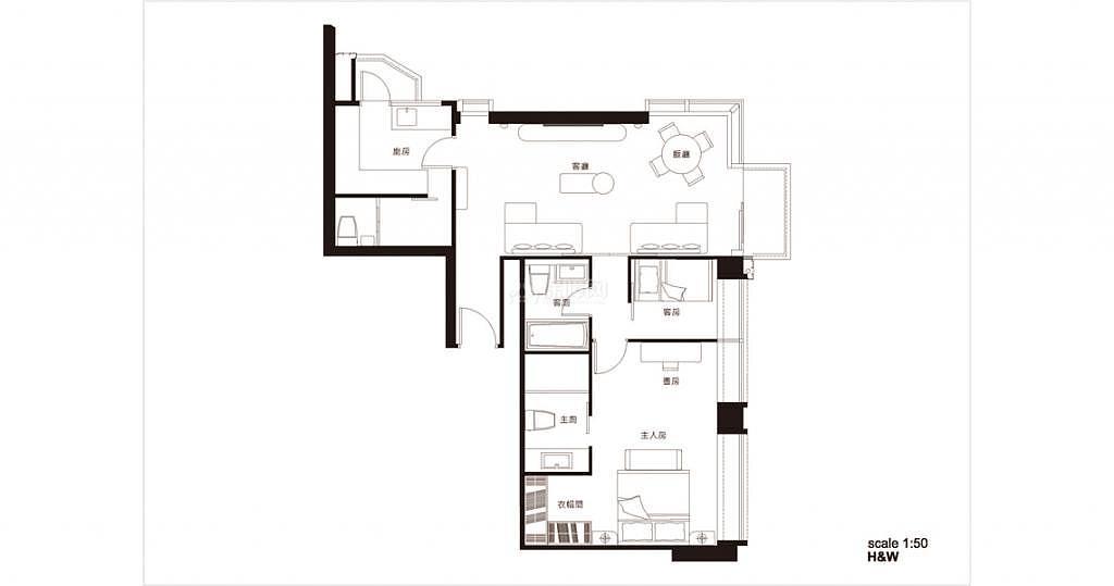 68平米中式轻奢两居户型图