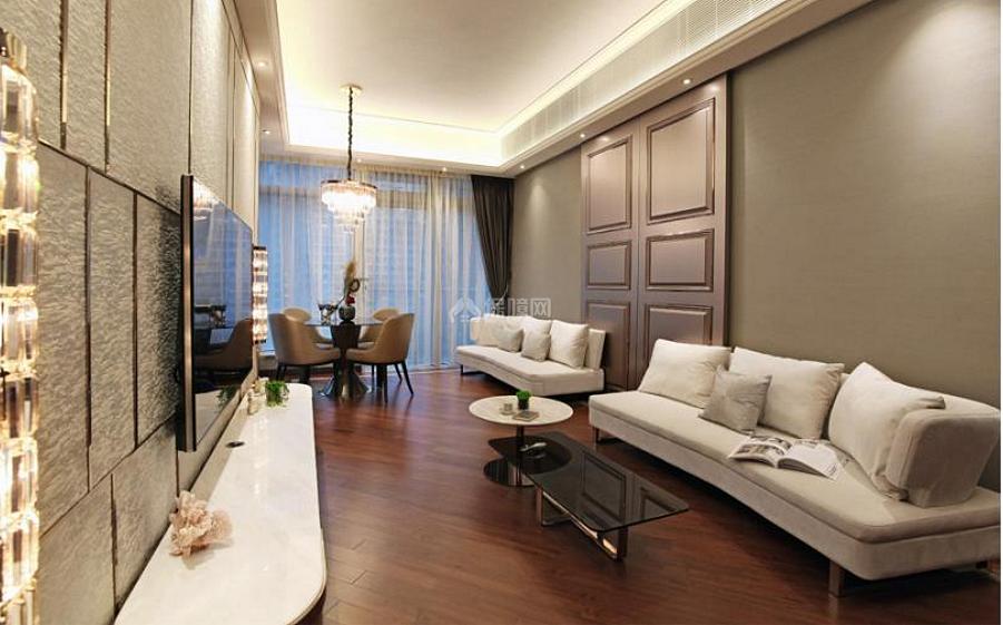 68平米中式轻奢客厅装修效果图