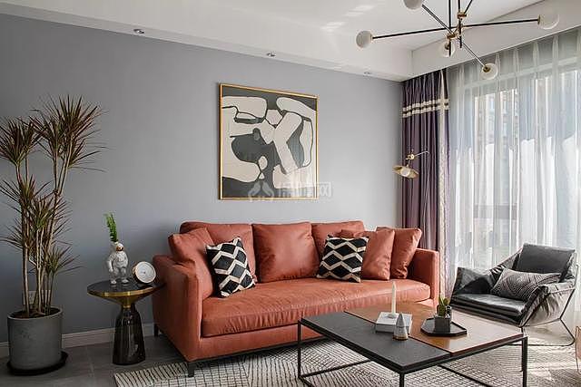 85㎡现代简约沙发茶几摆放效果图