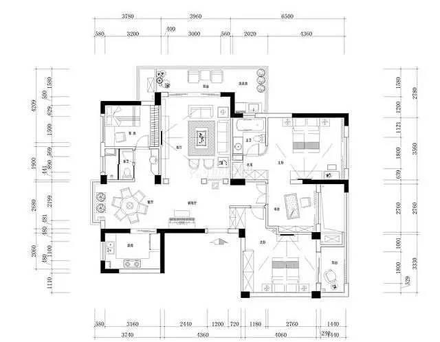 138平地中海风4房2厅户型图