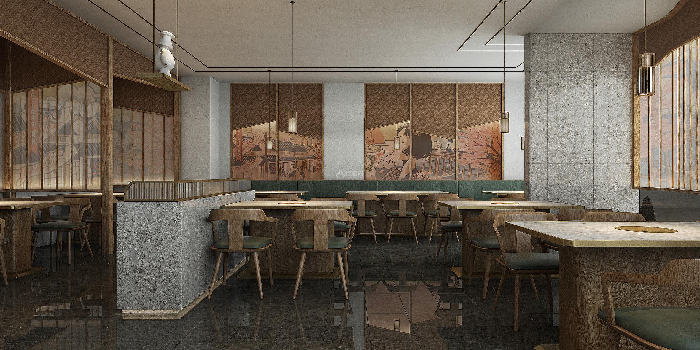 炉饄日式烤肉餐厅墙面装修效果图