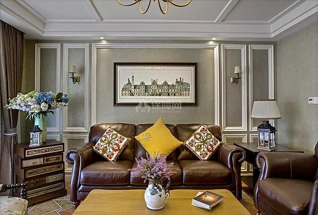 139平传统美式风客厅沙发墙装修效果图