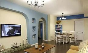 118平地中海风客厅电视墙设计效果图