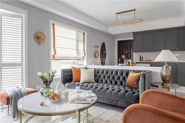 140㎡轻奢法式客厅颜色搭配效果图