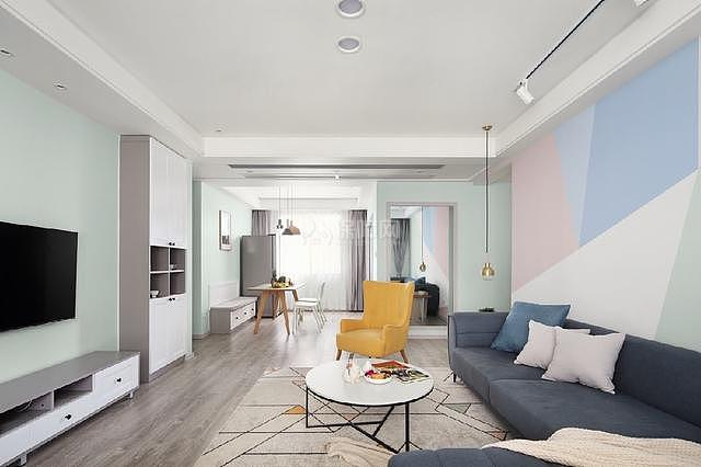 80㎡ins宜家沙发背景墙装饰效果图