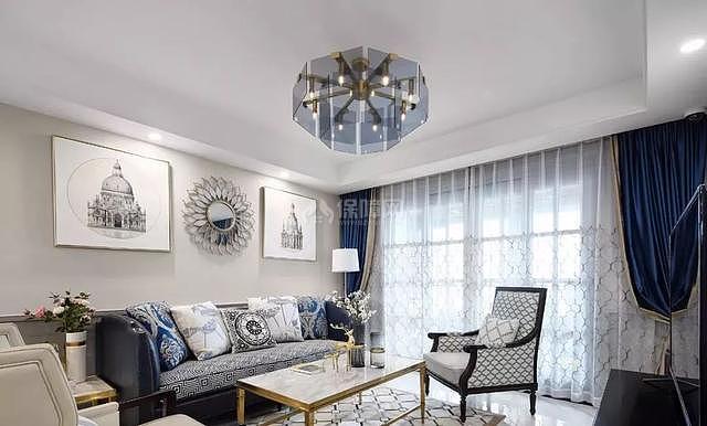140平现代简美客厅沙发茶几搭配效果图