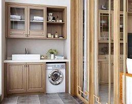 152㎡中式阳台洗衣柜设计效果图