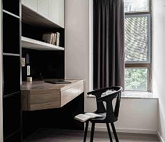 185㎡现代极简复式书房窗帘搭配效果图