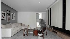 185㎡现代极简复式客厅装修设计效果图