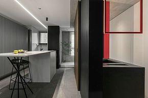 65㎡极简单身公寓开放式厨房设计效果图