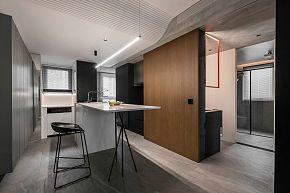 65㎡极简单身公寓厨房操作台设计