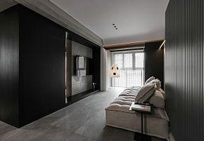 65㎡极简单身公寓客厅设计效果图