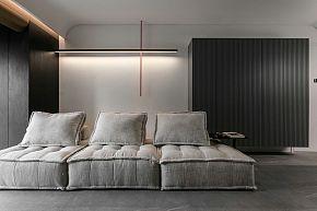 65㎡极简单身公寓客厅沙发摆放