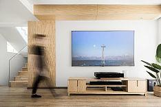 200㎡日式原木风别墅店客厅电视墙设计效果图