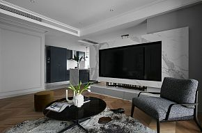 89㎡现代时尚客厅电视墙设计效果图