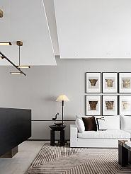 375㎡自然主义别墅客厅沙发墙装饰效果图