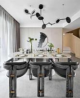 225平摩登现代别墅餐厅灯饰细节图