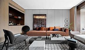 225平摩登现代别墅客厅装修布置效果图