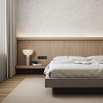 70㎡极简小户型卧室装修效果图