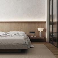 70㎡极简小户型卧室床头背景墙设计效果图
