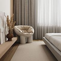 70㎡极简小户型卧室窗帘搭配效果图