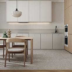 70㎡极简小户型开放式厨房设计效果图