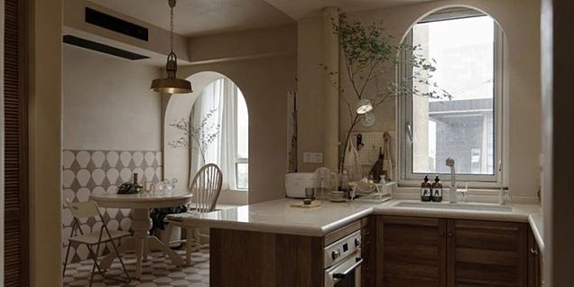 70平简约复古风两居室装潢效果图案例