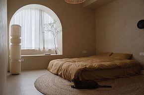70平简约复古风卧室装潢效果图